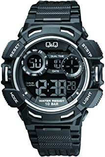 Mens Sports Watch Q&Q Digital Superior PU Band in Black Wrist Watch