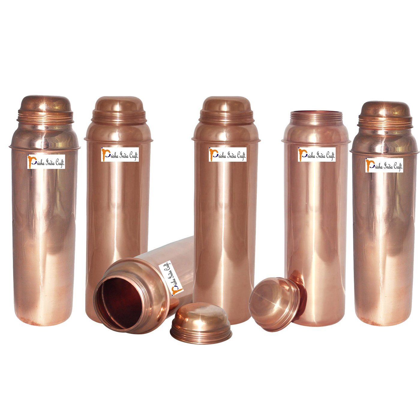 850ml / 28.74oz - Set of 6 - Prisha India Craft ® Pure Copper Water Bottle for Health Benefits - Water Pitcher Bottles - Handmade Christmas Gift Item
