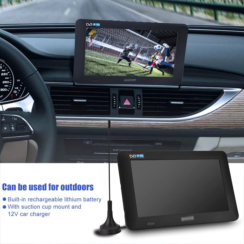 Garsent Digital with Freeview DVB-T-T2 Digital Analog Portable Color Television Player 9Inch Small Screen Digital for Home Car Black