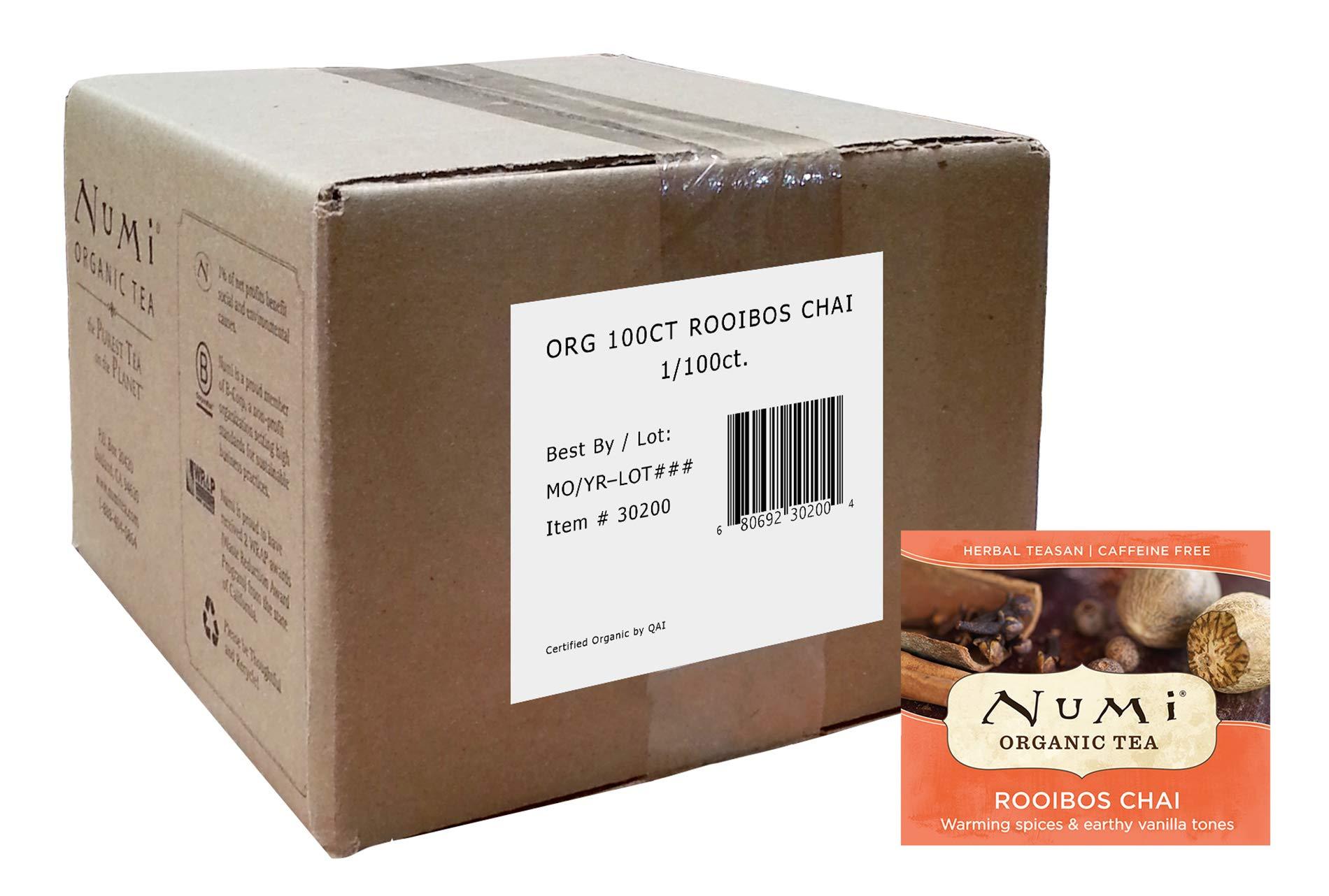 Numi Organic Tea Rooibos Chai, 100 Count Box of Tea Bags, Herbal Teasan, Caffeine-Free (Packaging May Vary)