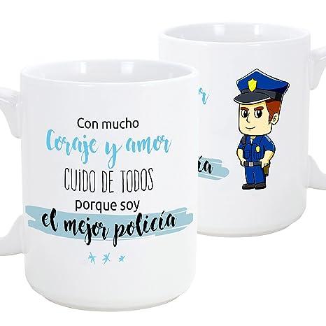 Taza de desayuno original para regalar a trabajadores profesionales - Regalo para policías - Con mucho coraje y amor cuido de todos porque soy el ...