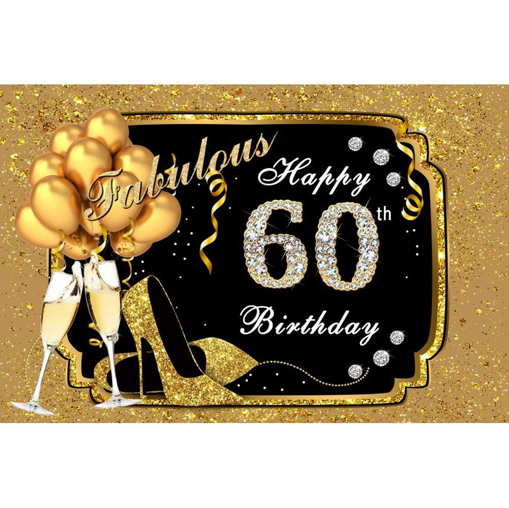 OERJU 2,2x1,5m Feliz cumpleaños Fondo Fabuloso de Oro Feliz 60 cumpleaños de Diamante Decoración Globo de champán Fiesta de cumpleaños Decoración de ...