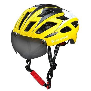 Casco de ciclismo, West ciclismo casco de la bici con gafas magnética desmontable de protección, transpirable seguridad carretera casco de bicicleta ...