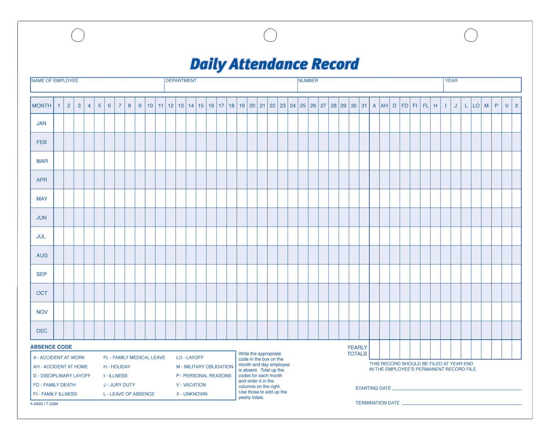 amazon com adams daily attendance record 8 5 x 11 inches 3 hole
