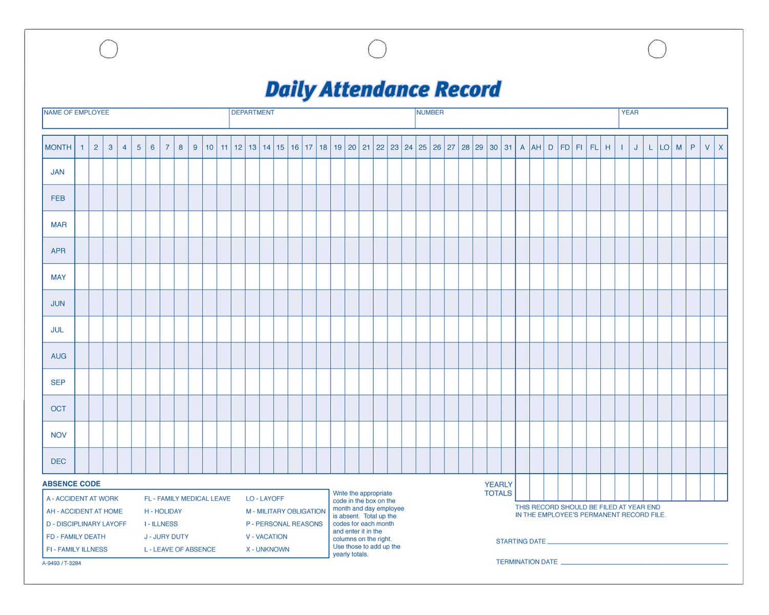 Adams Daily Attendance Record, 8.5 x 11 Inches, 3-Hole Punched, 50-Pack, White (9493) by Adams