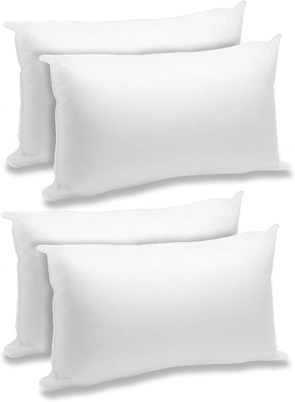 Foamily 4 Pack 12 X 20 Premium Hypoallergenic Lumbar Stuffer Pillow Inserts Sham Square Form Polyester Standard White Home Kitchen Amazon Com