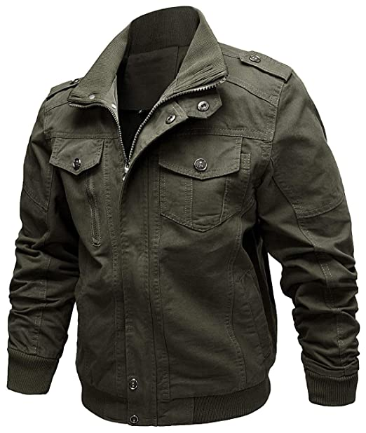 Targogo Estilo Militar para Hombre Tops Bomber Chaquetas Abrigo Al Slim Casual Fit Aire Libre Ropa Ligera para Hombre Mens Military Cotton Jacket Coat: ...