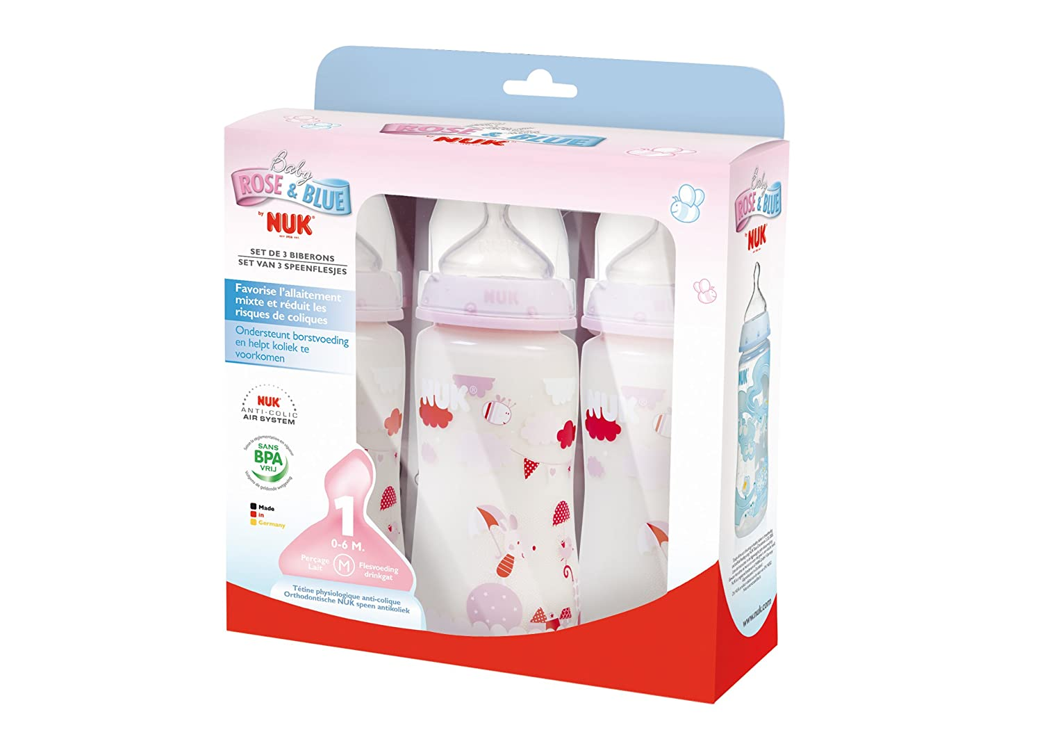 Bébés Ml Choice Lot Nuk 3 300 Biberons First Rose Pq4OU8