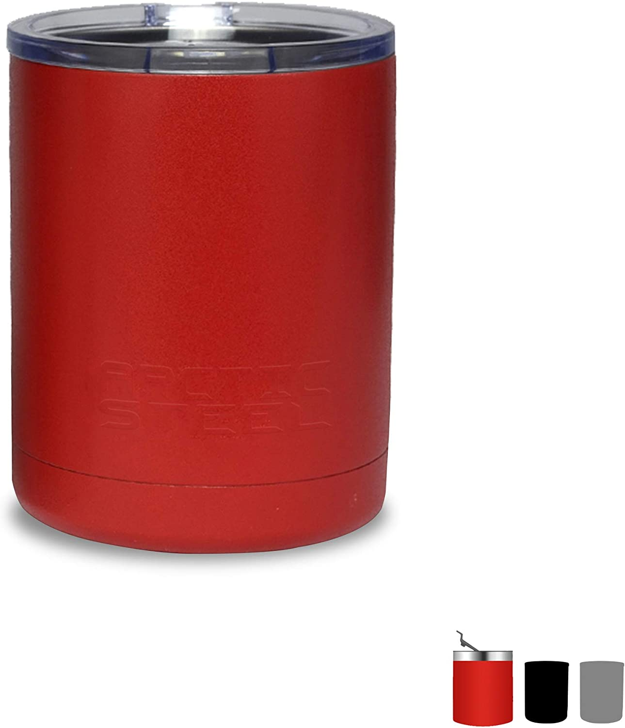 Arctic Steel 10oz Insulated Lowball Tumbler with Lid - Perfect for Coffee, Whiskey, and Cocktails - Durable Stainless Steel, Powder Coated Double Wall Vacuum Mug – Red