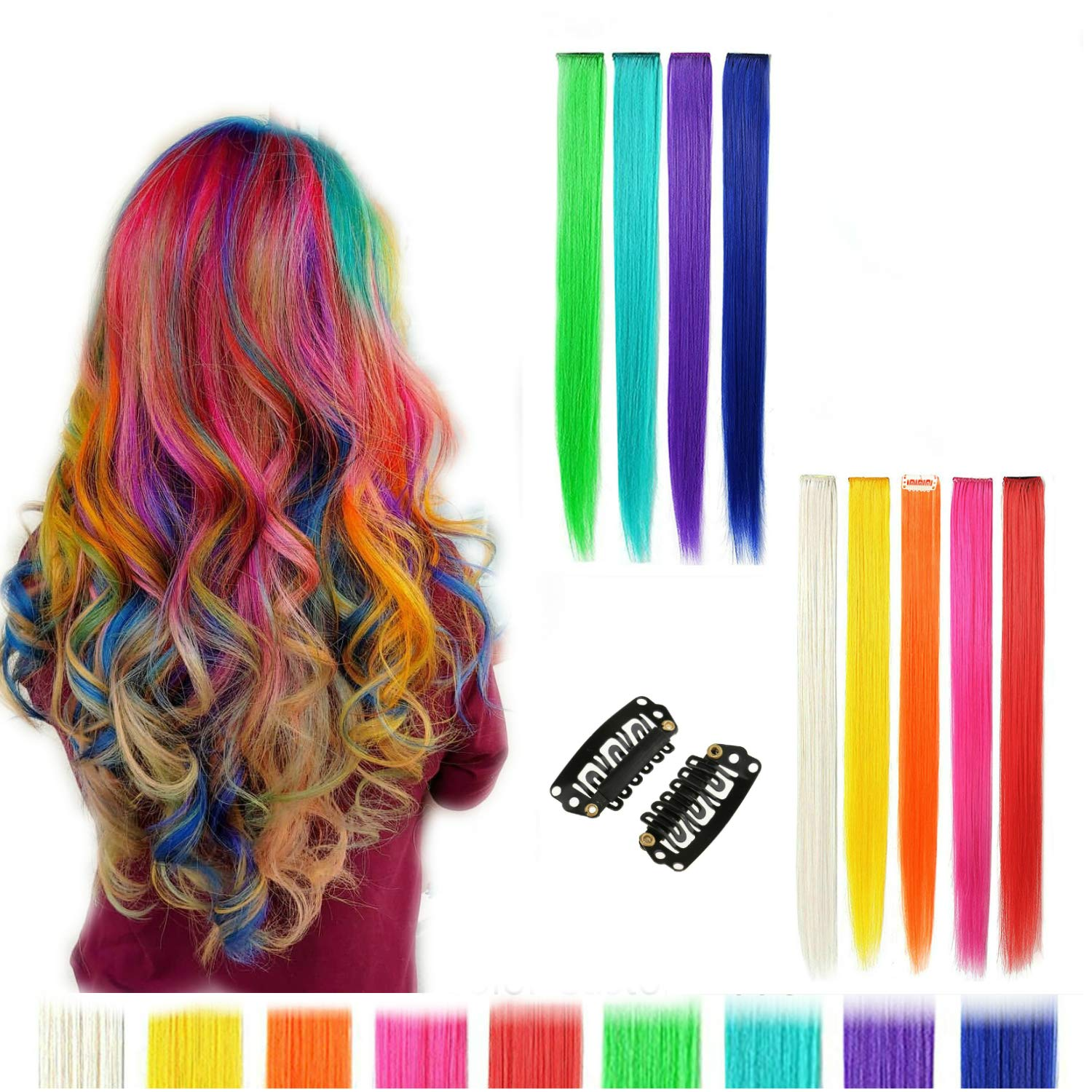 18pcs 22inch Straight Colored Clip In On Synthetic Hair Extensions for Girls Party Multiple color (MUITIPLE) AIYUCHEN