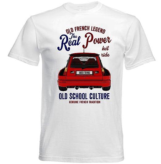 TEESANDENGINES Renault 5 Maxi Turbo Camiseta Blanca para Hombre de Algodon: Amazon.es: Ropa y accesorios