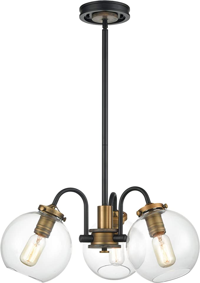 Wildsoul 10023bk 3 Light Farmhouse Clear Globe Glass Shaded Chandelier 3 Arms Mid Century Foyer Dining Room Industrial Edison Semi Flush Lights Rustic Wood Matte Black And Brass Finish 22 Diam