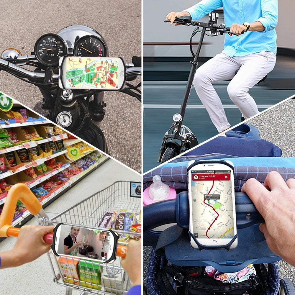 LG Universal Silicone Bicycle Motorcycle Handlebars Adjustable Cell Phone Holder for iPhone X//8 Plus//8//7 Plus Samsung Galaxy S9//S8,Nexus 4.5-6.0 Phones,360/° Rotation Bike Phone Mount