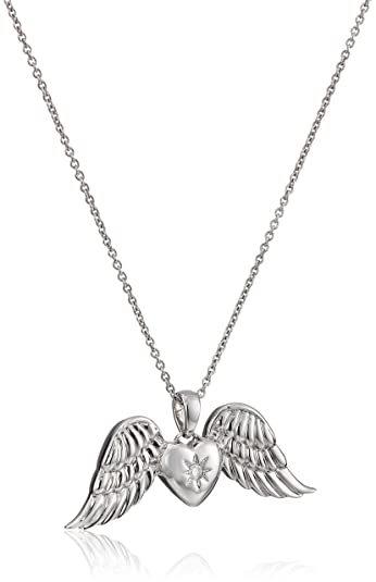 Amazon sterling silver diamond heart angel wings pendant sterling silver diamond heart angel wings pendant necklace 18quot mozeypictures Choice Image