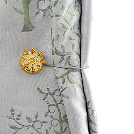 Curtain Tiebacks Clips Magnetic With Gold Crystal Floral Shower Curtains Holdbacks Metal Tie Backs Pack Of 1 By BIPY Amazoncouk Kitchen Home