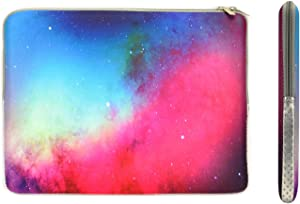 """TopCase Pink Galaxy Graphic Zipper Sleeve Bag Case for All Laptop 13"""" 13-inch MacBook Pro with or Without Retina Display/MacBook Air/MacBook Unibody/Ultrabook/Chromebook with TopCase Mouse Pad"""