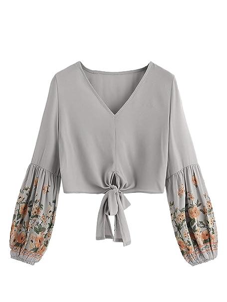 ed357205 Milumia Women Floral Print Knot Hem Crop Tops V Neck Long Sleeve Short  Casual Blouse Grey