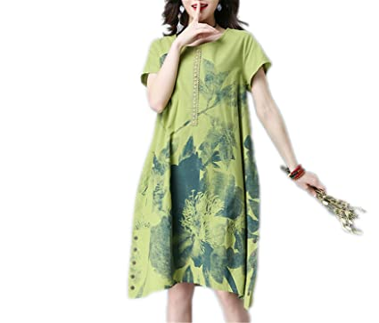 ZackZK Fashion cotton linen vintage print women casual loose summer dress vestidos femininos party dresses Green