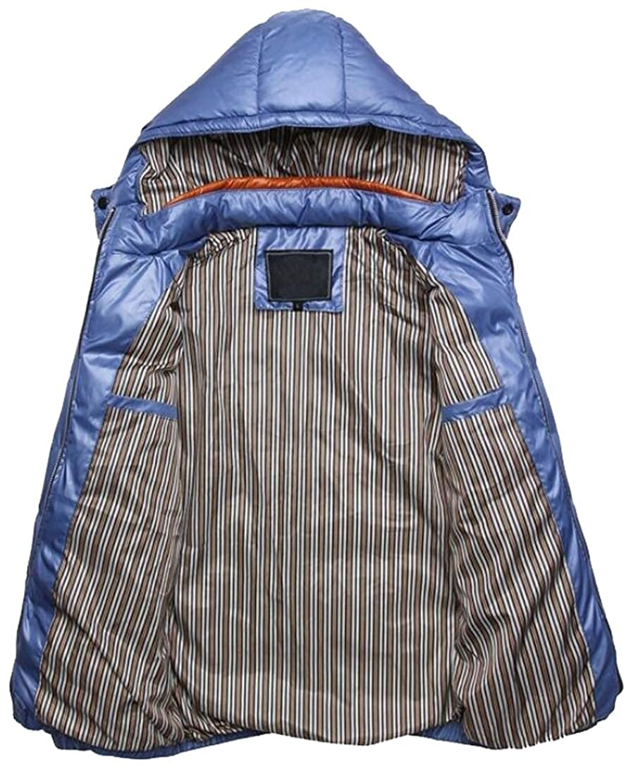 XQS Mens Lightweight Slim Fit Hooded Quilted Padded Puffer Down Jacket
