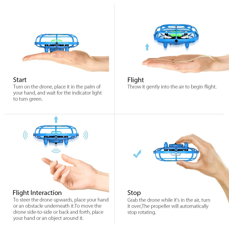 Theefun Mini Drone Luces LED, Uso con una Sola Mano, dron de fácil ...