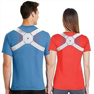 MOREHM Smart Posture Corrector for Women Men Kids, Electronic Posture Reminder with Sensor Vibration, Adjustable Upper Back Brace Straightener for Hunching, Invisible Posture Trainer under Clothes
