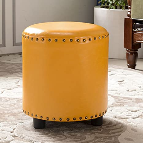 Pleasant Uusshop Wood Seat Footstool Footrest Ottoman Pouffe Chair Foot Stool With Faux Luxury Oil Wax Leather Cover Yellow Andrewgaddart Wooden Chair Designs For Living Room Andrewgaddartcom