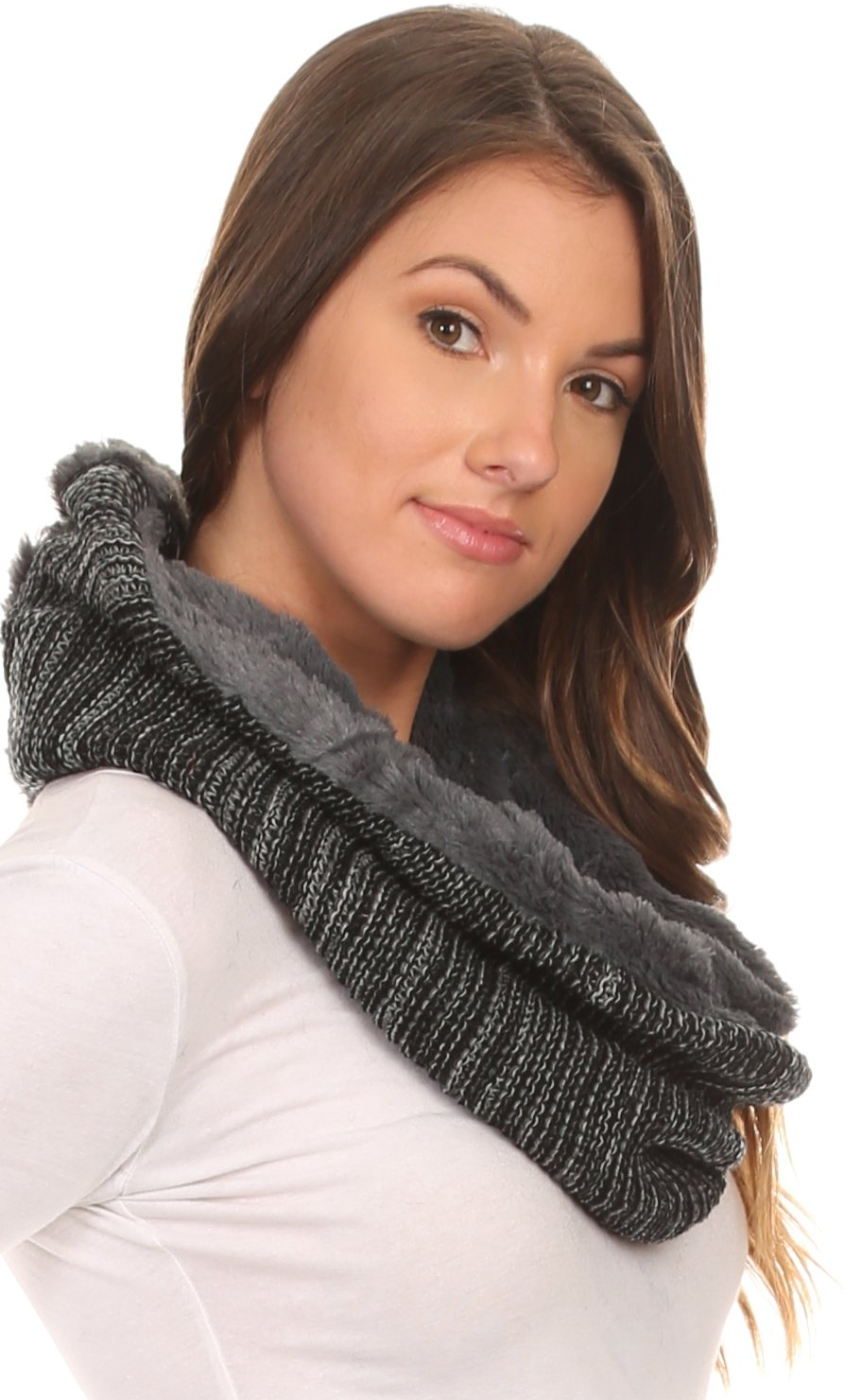 Sakkas 16107 - Sele Short Two Textured Faux Fur Ribbed Knit Mixed Designed Infinity Scarf - Grey - OS by Sakkas (Image #4)