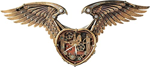 Design Toscano Steampunk Winged Heart Sculptural Wall Clock