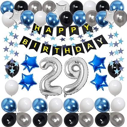 29 Decoraciones De Cumpleaños Para Hombres Mujeres Niños Niñas Suministros De Fiesta De Cumpleaños Azul Y Negro Con 29 Globos Plateados Con Número De Globo Para Cumpleaños De 29 Y 92