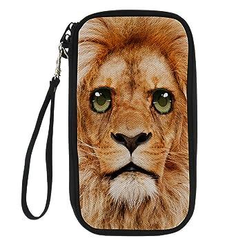 ThiKin - Cartera para pasaporte Mujer, león (Negro) - CC3128Z6_passport_wallet