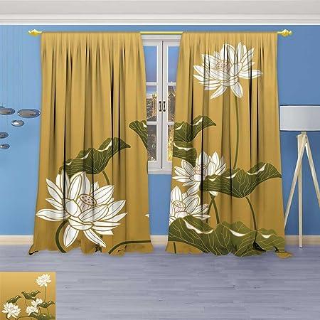 Amapark Room Darkening Window Curtainschinese Paint Lotus Flower