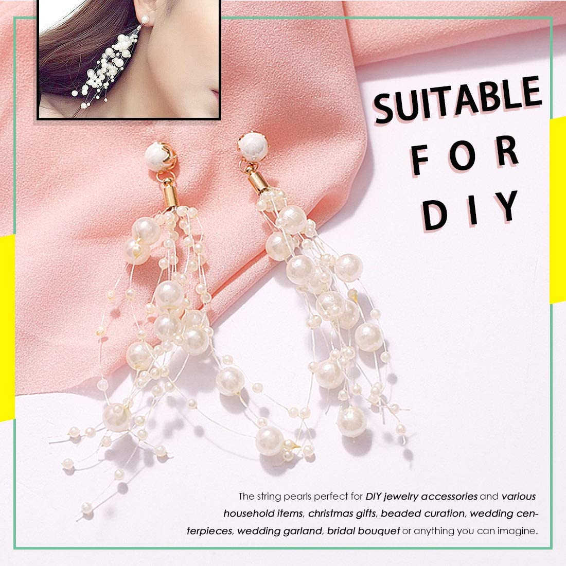 PEARLS STRAND mix of 3 /& 7 mm FAUX GARLAND WEDDING TABLE PARTY DECORATION