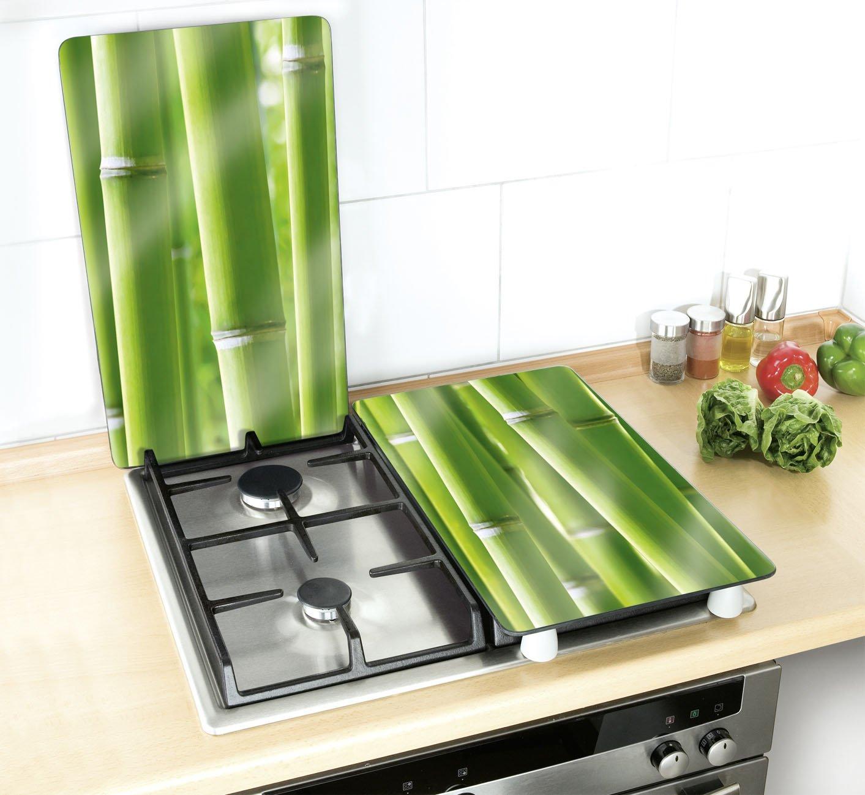 Compra Wenko 2521350100 Cubierta De Cocina Universal Bambú   Juego De 2  Piezas Para Todos Los Tipos De Cocinas, Vidrio Endurecido, 30 X 1.8 4.5 X  52 Cm, ...