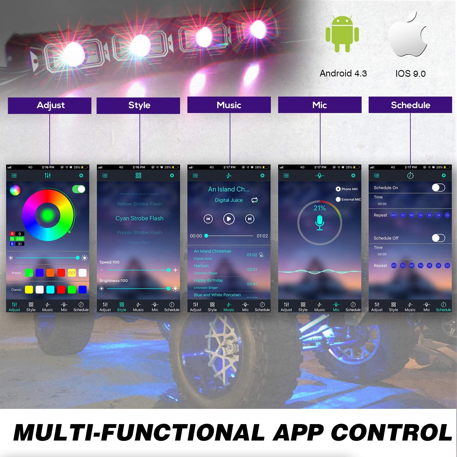 Teochew-LED 4 Pods Wheel Well Lights Underglow Multicolor LED Rock Lights with Music Timing Mode Bluetooth Control Neon Light Kits for RZR ATV Truck Jeep UTV RGB Rock Light Kits