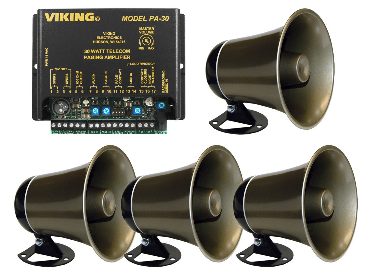 Viking 30 Watt Paging Amplifier with Loud Ringing and 4 Powered Speaker by Calhoun Promotions Group Inc