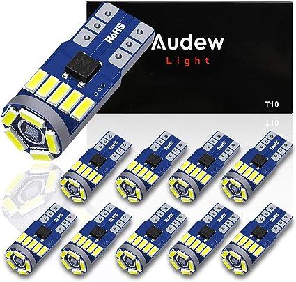 Audew 10 x W5W / T10 LED CANBUS Lámparas para Matrículas 15 x 4014 ...
