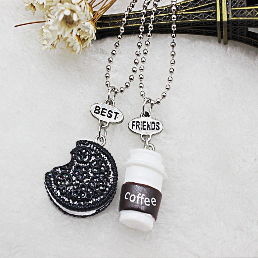 Elegant Rose Conjuntos de 3 unidades Aleaci/ón Collares best friends forever and ever Cookie Coffee Creativo Friendship Regalo para Amigos Ni/ñas