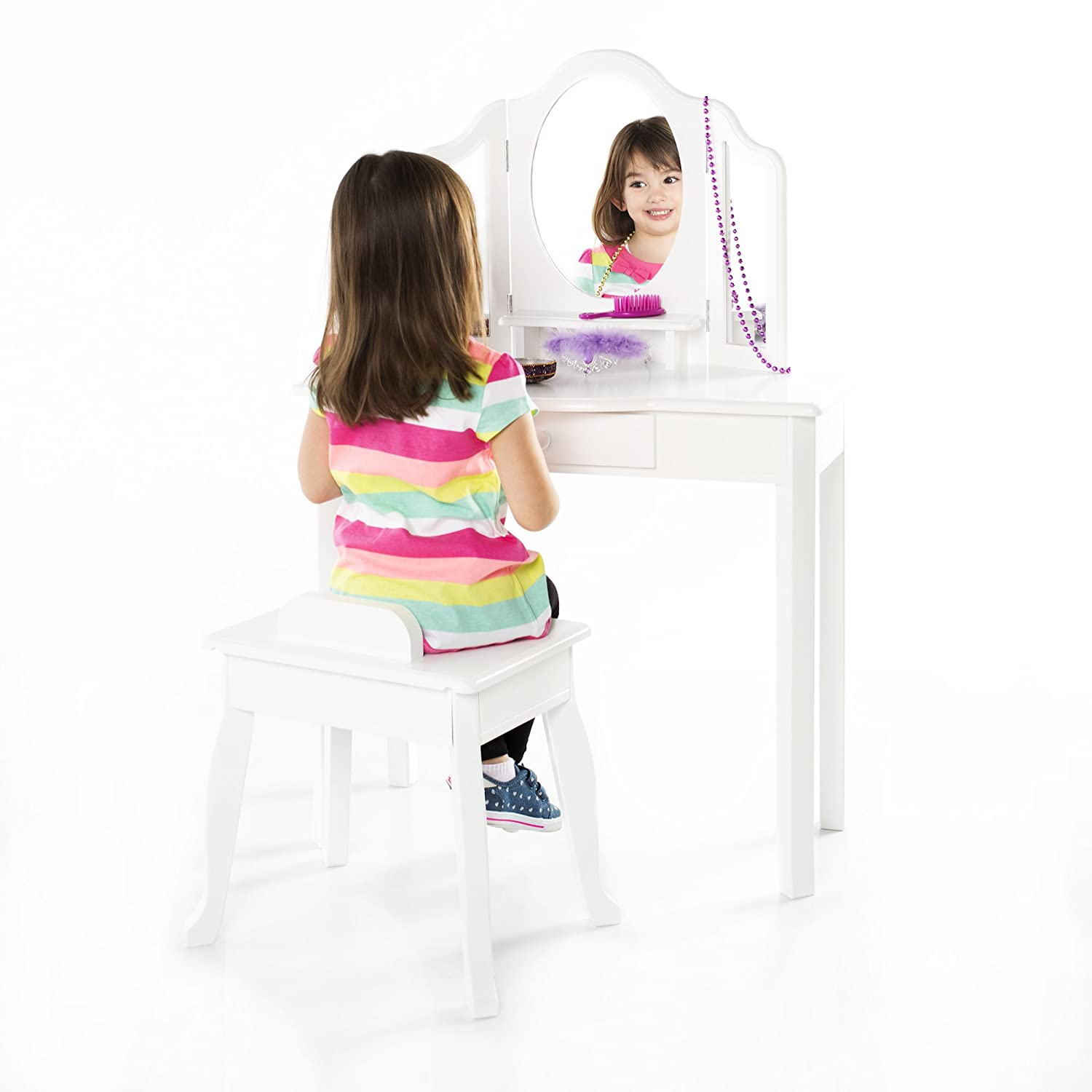 Guidecraft Classic White Vanity and Stool Set: Kids' Wooden Table with 3 Mirrors, Storage Seat and Make-Up Drawer - Children's Furniture G85710