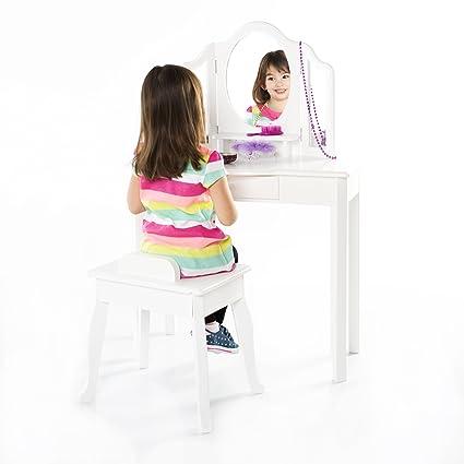 Amazon Com Guidecraft Classic White Vanity And Stool Set Kids
