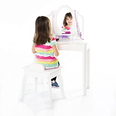 Amazon.com: Guidecraft Classic White Vanity Table and Stool Set with ...