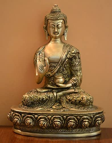 Aone India Beautiful Handmade Buddha Statue in Blessing Posture Abhaya Mudra- Brass Metal Cash Envelope Pack of 10
