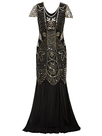 Vikoros 1920s Long Prom Dresses Gown Beads Sequin Art Deco Evening Flapper Dress