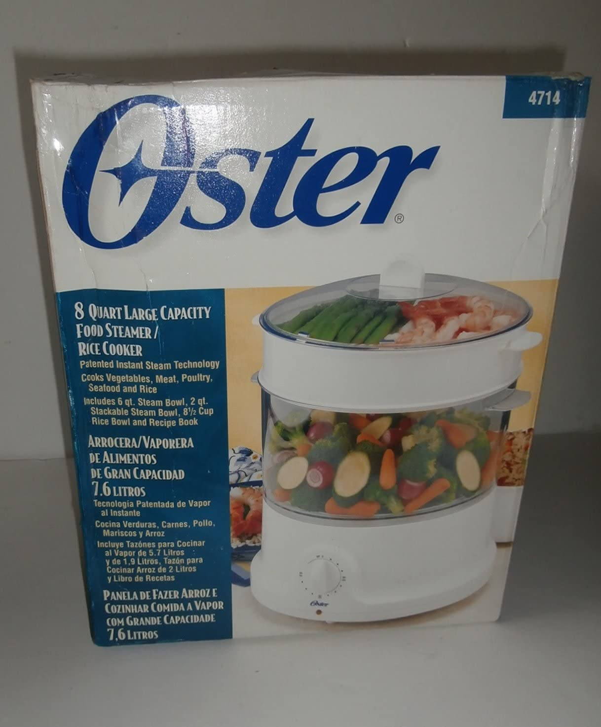 Oster 4714 Large Capacity 8-Quart Food Steamer Rice Cooker - White