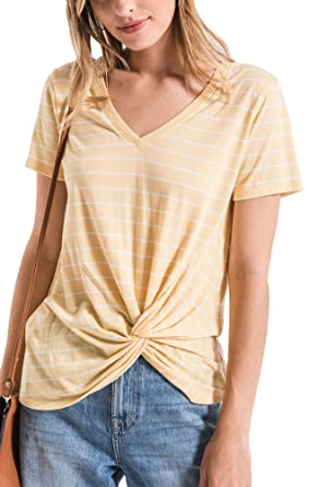 ab1fcb3b9d74 Z Supply ZT191682 The Lucca Twist Front Tee in Yellow Cream (x-Small)
