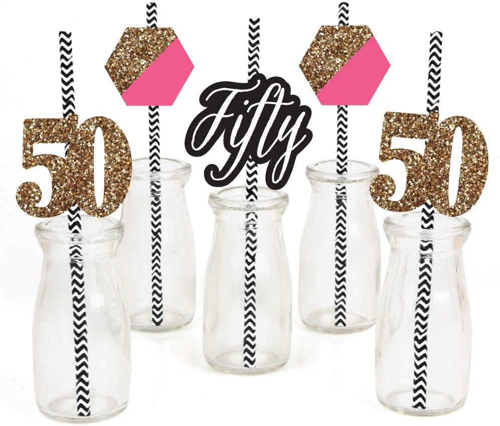 Chic 50th Birthday - Pink, Black and Gold Paper Straw Decor - Birthday Party Striped Decorative Straws - Set of 24