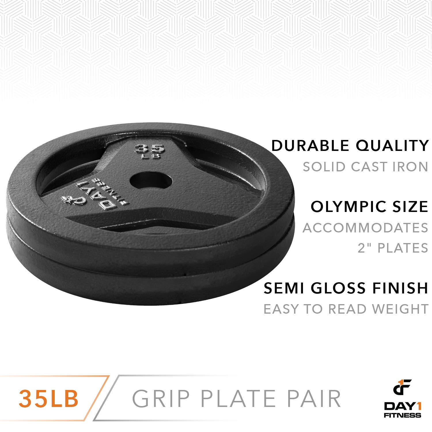 """Day 1 Fitness Cast Iron Olympic 2-Inch Grip Plate for Barbell, 35 Pound Set of 2 Plates Iron Grip Plates for Weightlifting, Crossfit - 2"""" Weight Plate for Bodybuilding by Day 1 Fitness (Image #3)"""
