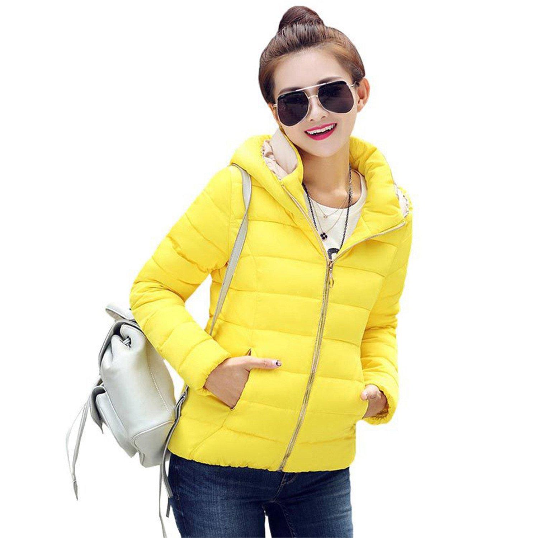 Yellow Jimmetfrend Fashion Jacket Women Hooded Parka Slim CottonPadded High Neck 6 colors Cotton Coat Tops Plus Size