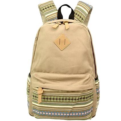 Khaki Canvas School Bag Backpack Girls ed3b1d9b9bf27