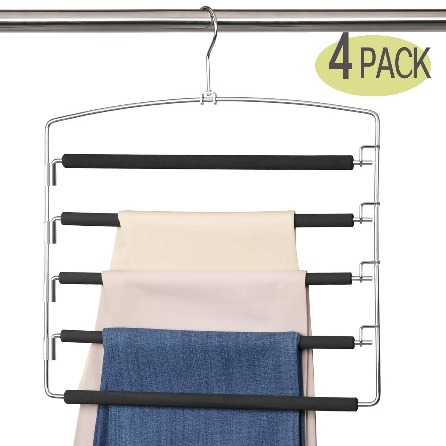 Meetu Pants Hangers 5 Layers Stainless Steel Non-Slip Foam Padded Swing Arm Space Saving Clothes Slack Hangers Closet Storage Organizer for Pants Jeans Trousers Skirts Scarf Ties Towels (4 Pack) by Meetu