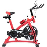 Akonza Stationary Exercise LED Display Cycling Bicycle Heart Pulse Trainer Bike Bottle Holder, Red / Black / White